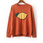 Split Fruit Print Jumper Sweater - SWEET ORANGE