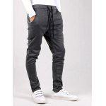 Buy Drawstring Waist Button Embellished Jogger Pants M DEEP GRAY