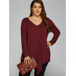Plus Size Long Sleeve Asymmetrical T-Shirt - WINE RED