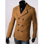Double Breasted Lapel Collar Wool Blend Coat - BROWN