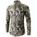Buy YELLOW L Turn-Down Collar Long Sleeve Paisley Shirt for $12.55 in GearBest store