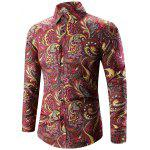 Buy DEEP RED 3XL Turn-Down Collar Long Sleeve Paisley Shirt for $13.84 in GearBest store