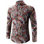 Buy RED M Turn-Down Collar Long Sleeve Paisley Shirt for $14.62 in GearBest store