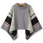 Color Block Dolman Poncho Sweater - GRAY
