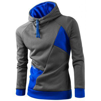 Buy AZURE 2XL Inclined Zipper Classic Color Lump Splicing Rib Hem Slimming Hooded Long Sleeves Men's Hoodie for $17.97 in GearBest store