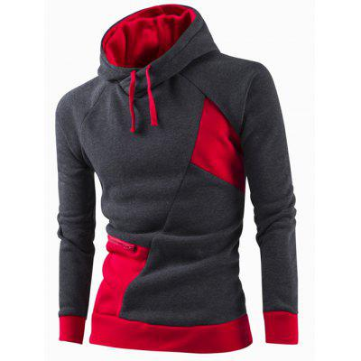 Buy RED 2XL Inclined Zipper Classic Color Lump Splicing Rib Hem Slimming Hooded Long Sleeves Men's Hoodie for $17.97 in GearBest store