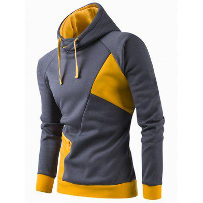 Buy YELLOW M Inclined Zipper Classic Color Lump Splicing Rib Hem Slimming Hooded Long Sleeves Men's Hoodie for $16.99 in GearBest store