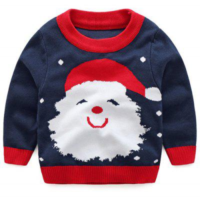 Kids Santa Jacquard Pullover Christmas Sweater