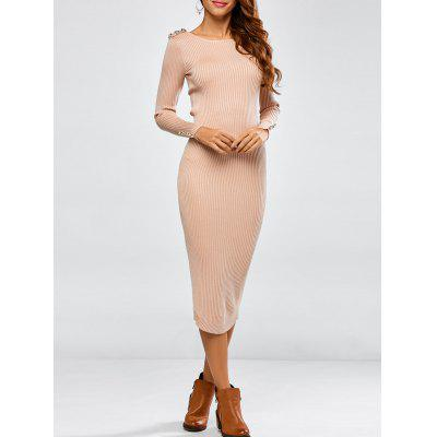 Buttoned Long Sleeve Pencil Knitting Dress