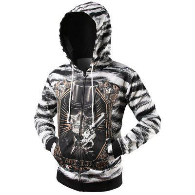 Zebra Striped Graphic Cool Zip Up Hoodies for Men