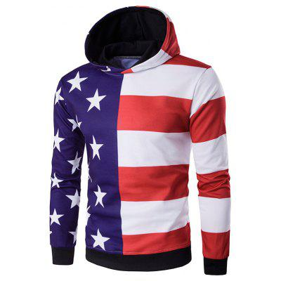 Hooded 3D Stars and Stripes Print Hoodie