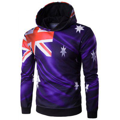 Hooded 3D Flag of Australia Print Purple Hoodie