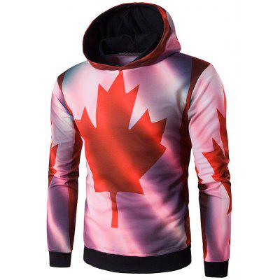 Hooded 3D Maple Leaf Print Patriotic Hoodie