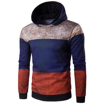 Hooded Color Block Spliced Distressed Print Hoodie