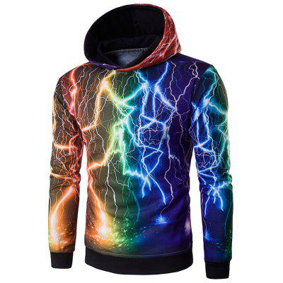 Hooded 3D Colorful Lightning Print Cool Hoodie