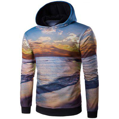Hooded 3D Dusk and Beach Print Hoodie