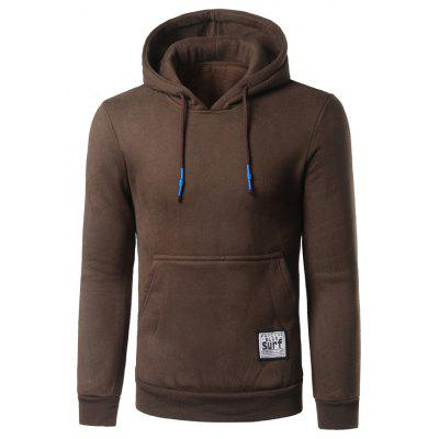 Surf Patch Kangaroo Pocket Pullover Brown Hoodie
