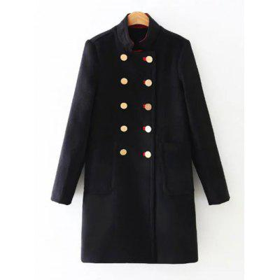 Stand Collar Double Breasted Coat