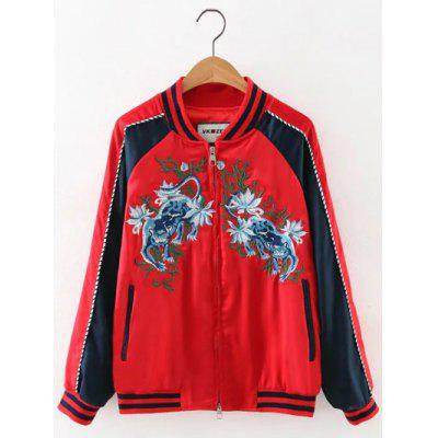 Animal Embroidered Zip Souvenir Jacket