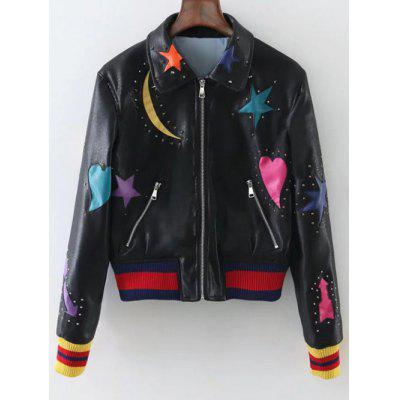 Rivet Star Moon Patched Bomber Jacket