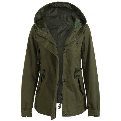 Buy ARMY GREEN Drawstring Cargo Jacket with Hood for $30.87 in GearBest store