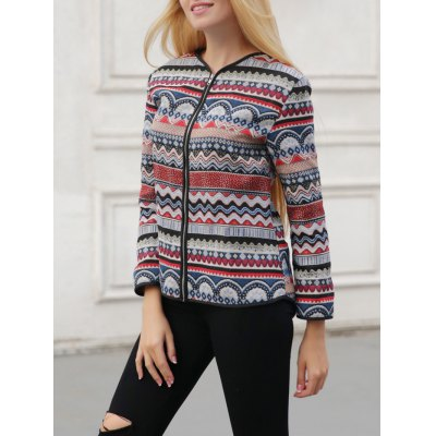 Ornate Print Zipper Design Jacket