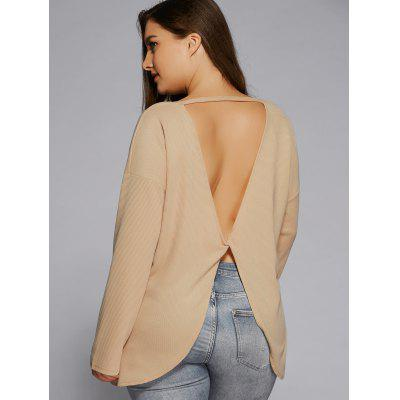 Plus Size Criss Cross Backless Sweater