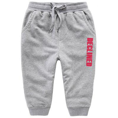 Casual Drawstring Letter Print Kids Sweatpants