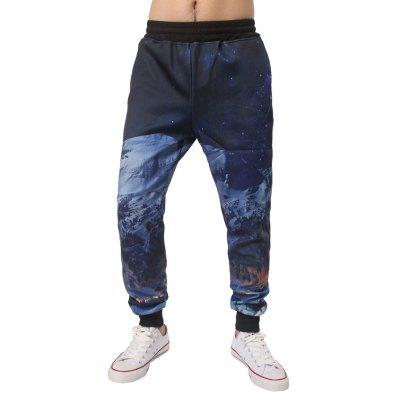 Night Scene Printed Elastic Waist Jogger Pants