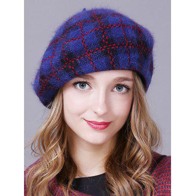 Outdoor Plaid Pattern Faux Angora Beret Hat