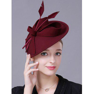 Floral Feather Wool Cocktail Hat