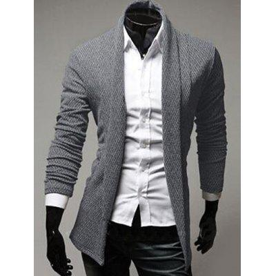 Turn-Down Collar Long Sleeve Cardigan
