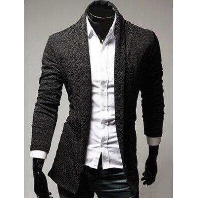 Buy DEEP GRAY XL Turndown Collar Slimming Knitting Cardigan for $8.14 in GearBest store