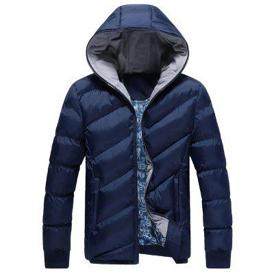 Rib Cuff Side Pocket Zip Up Padded Jacket