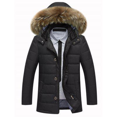 Zippered Detachable Faux Fur Hood Padded Jacket