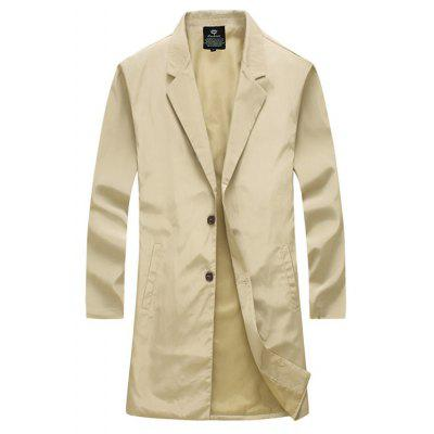 Notch Lapel Side Pocket Single Breasted Coat
