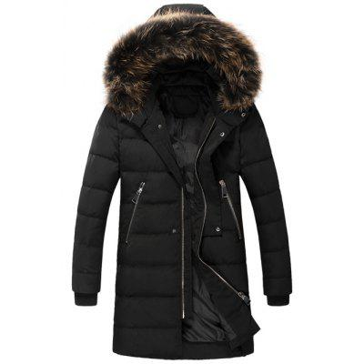 Zippered Faux Fur Hooded Padded Coat