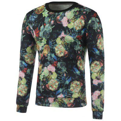 Flowers 3D Printed Crew Neck Sweatshirt