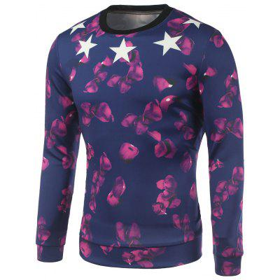 Petal and Star Printed Crew Neck Sweatshirt