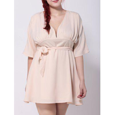 Hollow Out Tied Belt Swing Dress