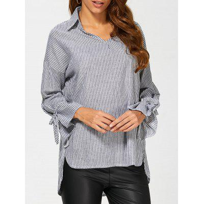 Buy BLACK Pinstriped High Low Blouse for $20.40 in GearBest store