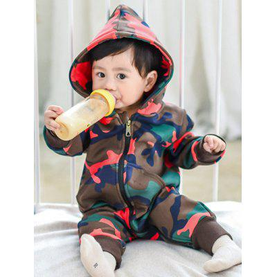 Zipper Fly Hooded Camo Jumpsuit