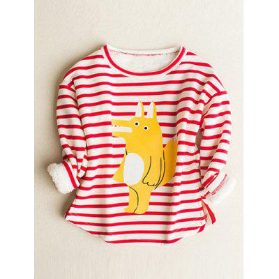 Cartoon Print Stripe Long Sleeve T Shirt