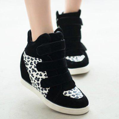 Botas Leopard Impresso escondido Wedge
