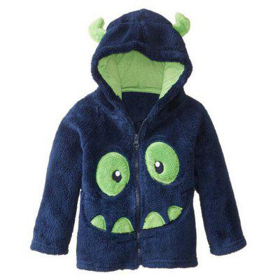 Kids Cartoon Monster Hooded Fleece Coat