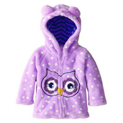 Cartoon Owl Polka Dot Hooded Fleece Coat