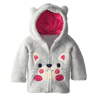 Kids Cartoon Cat Hooded Fleece Coat