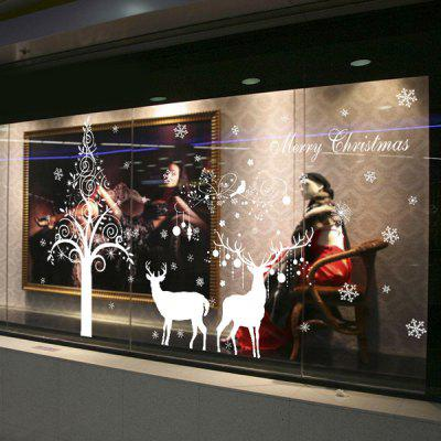 Buy WHITE Christmas Deer DIY Window Decoration Chriatmas Wall Stickers for $3.43 in GearBest store