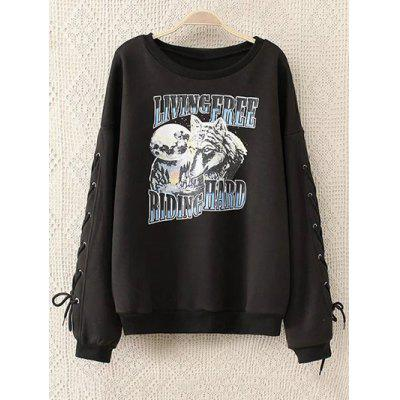 Lace Up Sleeve Graphic Fleeced Sweatshirt