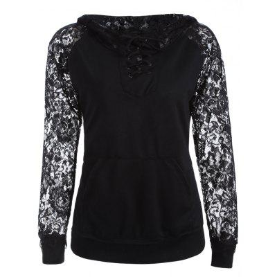 Lace Spliced ​​Lace Up Hoodie